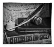 The Constitutional Lawyer In Black And White Fleece Blanket