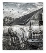 The Cows Came Home Black And White Fleece Blanket