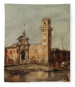 The Entrance To The Arsenal In Venice  Fleece Blanket