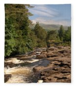 The Falls Of Dochart And Bridge At Killin In Scottish Highlands Fleece Blanket