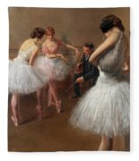 The First Pose, The Ballet Lesson Fleece Blanket