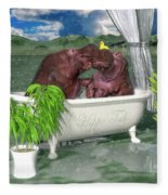 The Hippo Tub Fleece Blanket