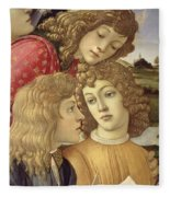 The Madonna Of The Magnificat, Detail Of Three Boys, 1482 Fleece Blanket