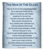 The Man In The Glass Poem - Blue Grey Fleece Blanket