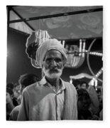 The Many Shades Of Delhi - Turbaned Man Fleece Blanket