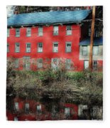 The Red House Along The Autumn Canal Fleece Blanket
