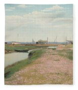 The River And The Harbour At Frederiksvaerk Fleece Blanket