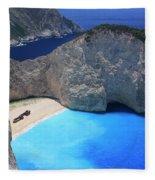 The Shipwreck Beach Zakynthos Greece Fleece Blanket