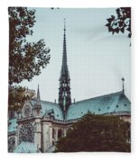 The Spire - Cathedral Of Notre Dame Paris France Fleece Blanket