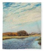 The Susaa River At Naestved, Denmark Fleece Blanket