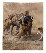 The Take Down - Lions Attacking Cape Buffalo Fleece Blanket by Alan M Hunt