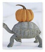 The Tortoise And The Pumpkin Fleece Blanket