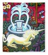 The Unicorn And Garden Fleece Blanket