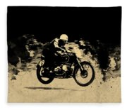 The Vintage Motorcycle Racer Fleece Blanket