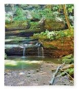 The Waterfall In Old Man's Cave Hocking Hills Ohio Fleece Blanket