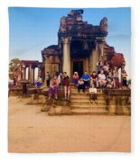 They Come To See Angkor Wat, Siem Reap, Cambodia Fleece Blanket