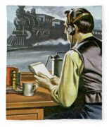 Thomas Edison, The Railway Telegraphist  Fleece Blanket