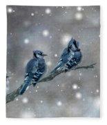 Three Blue Jays In The Snow Fleece Blanket