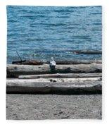 Three Gulls On A Log Fleece Blanket