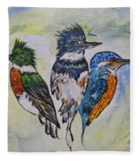 Three Kingfisher Birds - Painting By Ella Fleece Blanket