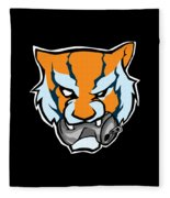 Tiger Head Bitting Beer Can Orange Fleece Blanket