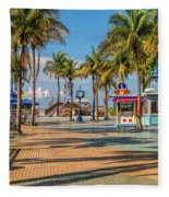Times Square In Fort Myers Beach Florida Fleece Blanket