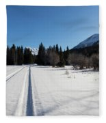 Tire Tracks In Snow In An Isolated Area Of The Kenai Peninsula Fleece Blanket