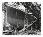Titanic In Belfast Dry Dock 1911 Fleece Blanket