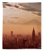 Tokyo And Mount Fuji Fleece Blanket