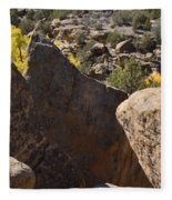Top Of Rocks Above Canyon In Fall Fleece Blanket