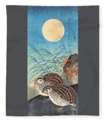 Top Quality Art - Moon And  Quail Fleece Blanket