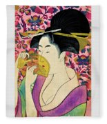 Top Quality Art - Woman With A Comb Fleece Blanket