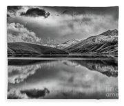 Topaz Lake Winter Reflection, Black And White Fleece Blanket