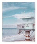 Torrey Pines Beach Lightguard Station Number 5 Fleece Blanket by Wendy Fielding