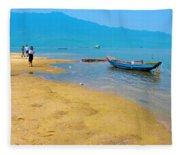 Tourists In Lang Co 1 - Hue, Vietnam Fleece Blanket