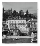 Town In The Shore Of Lake Como In Black And White Fleece Blanket