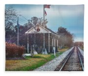 Train Tracks To Old Town Fleece Blanket