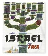Trans World Airlines - Israel - Vintage Travel Poster Fleece Blanket