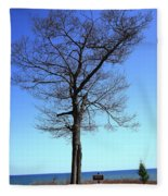 Tree And Great Lake Fleece Blanket