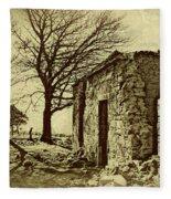 Tree And Ruins Fleece Blanket