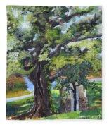 Tree At Cartecay Fleece Blanket