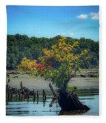 Tree In Mallows Bay Fleece Blanket