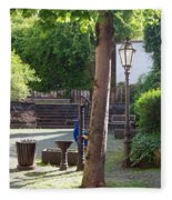 tree lamp and old water pump in Cochem Germany Fleece Blanket