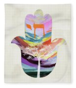 Tree Of Life Hamsa 2- Art By Linda Woods Fleece Blanket