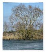 Tree On Frozen Lake Fleece Blanket