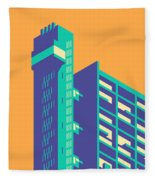 Trellick Tower London Brutalist Architecture - Plain Apricot Fleece Blanket
