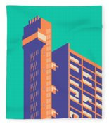 Trellick Tower London Brutalist Architecture - Plain Green Fleece Blanket