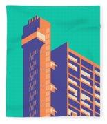 Trellick Tower London Brutalist Architecture - Plain Green Fleece Blanket