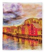 Trondheim - Waterfront Evening Fleece Blanket