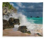 Tropical Beach Splash Fleece Blanket